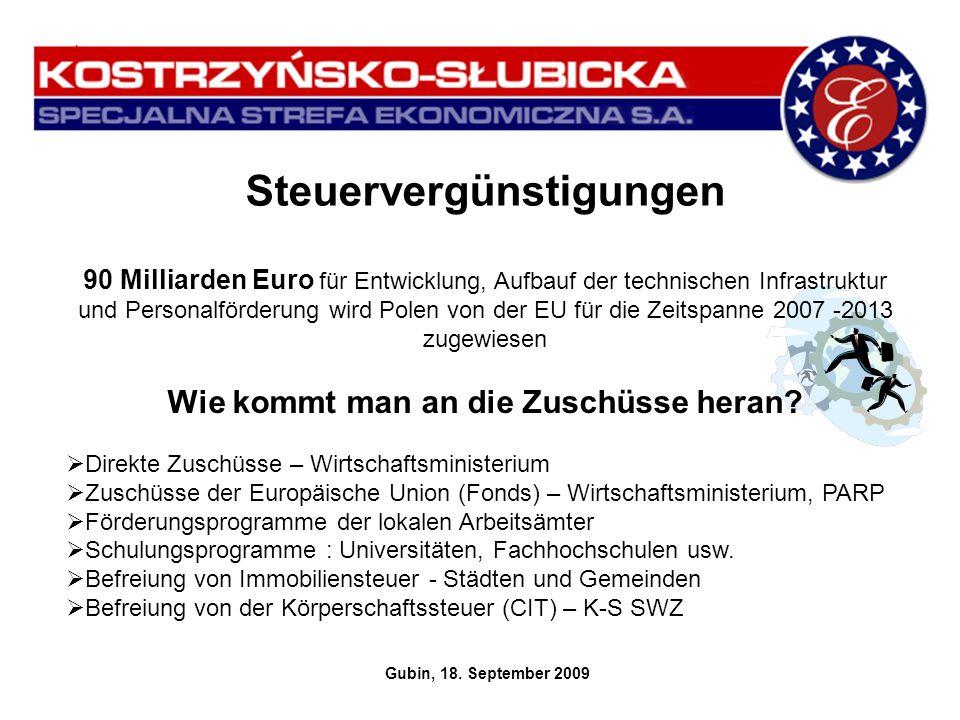 Körperschaftsteuerbefreiung Ein Unternehmer, welcher eine Gewerbetätigkeit in der Sonderwirtschaftszone von Kostrzyn und Slubice aufnimmt, ist zur Bieziehung der Regionalhilfe der polnischen Regierung in Form der Befreiung von der Körperschaftssteuer (CIT) berechtigt.