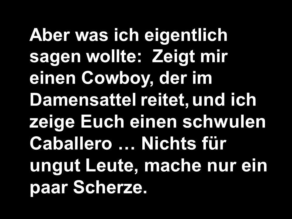 Aber was ich eigentlich sagen wollte: Zeigt mir einen Cowboy, der im Damensattel reitet, und ich zeige Euch einen schwulen Caballero … Nichts für ungu