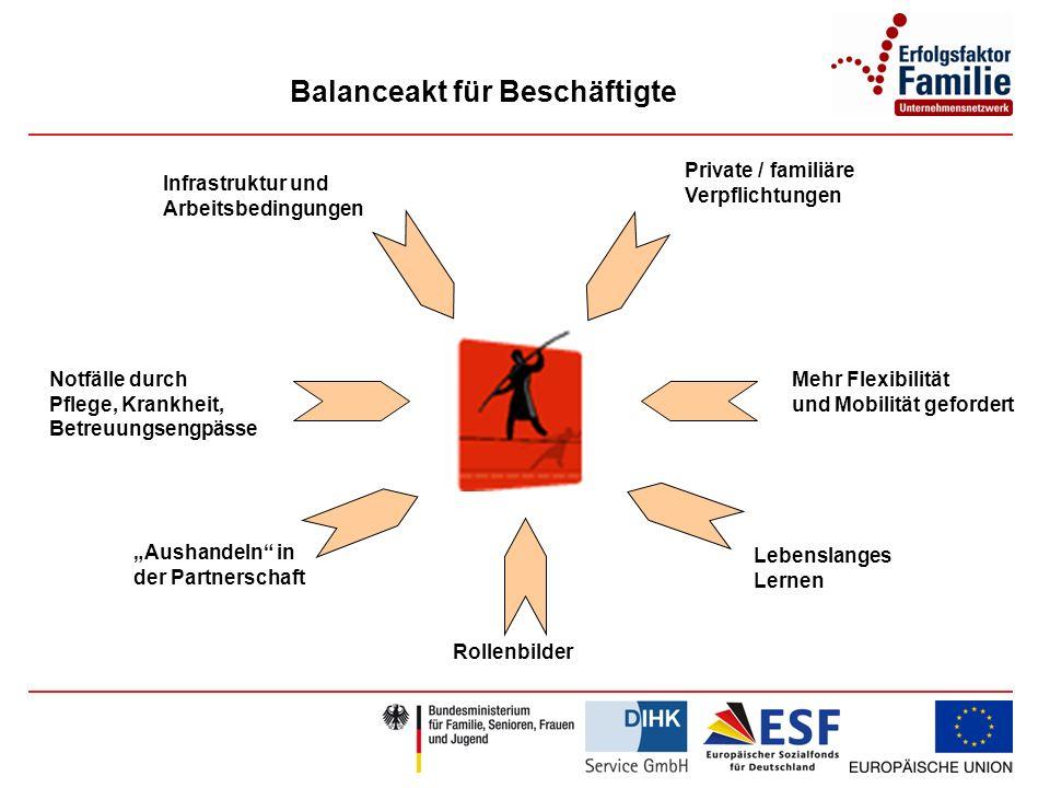 Balanceakt für Beschäftigte Infrastruktur und Arbeitsbedingungen Mehr Flexibilität und Mobilität gefordert Lebenslanges Lernen Rollenbilder Notfälle durch Pflege, Krankheit, Betreuungsengpässe Aushandeln in der Partnerschaft Private / familiäre Verpflichtungen