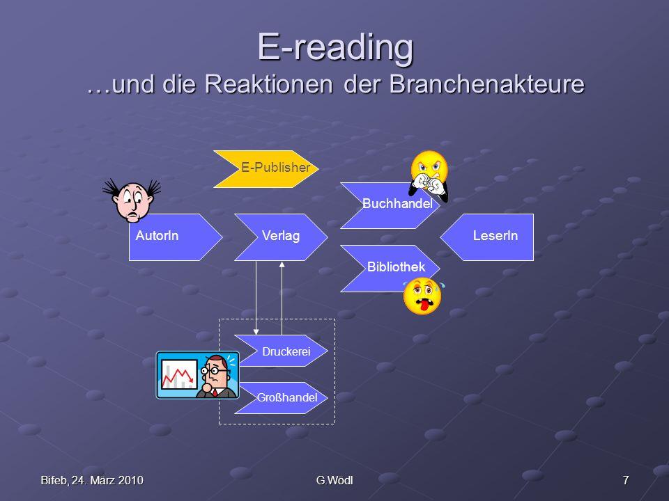 7Bifeb, 24. März 2010G.Wödl E-reading …und die Reaktionen der Branchenakteure AutorInVerlag Bibliothek Buchhandel LeserIn Druckerei Großhandel E-Publi