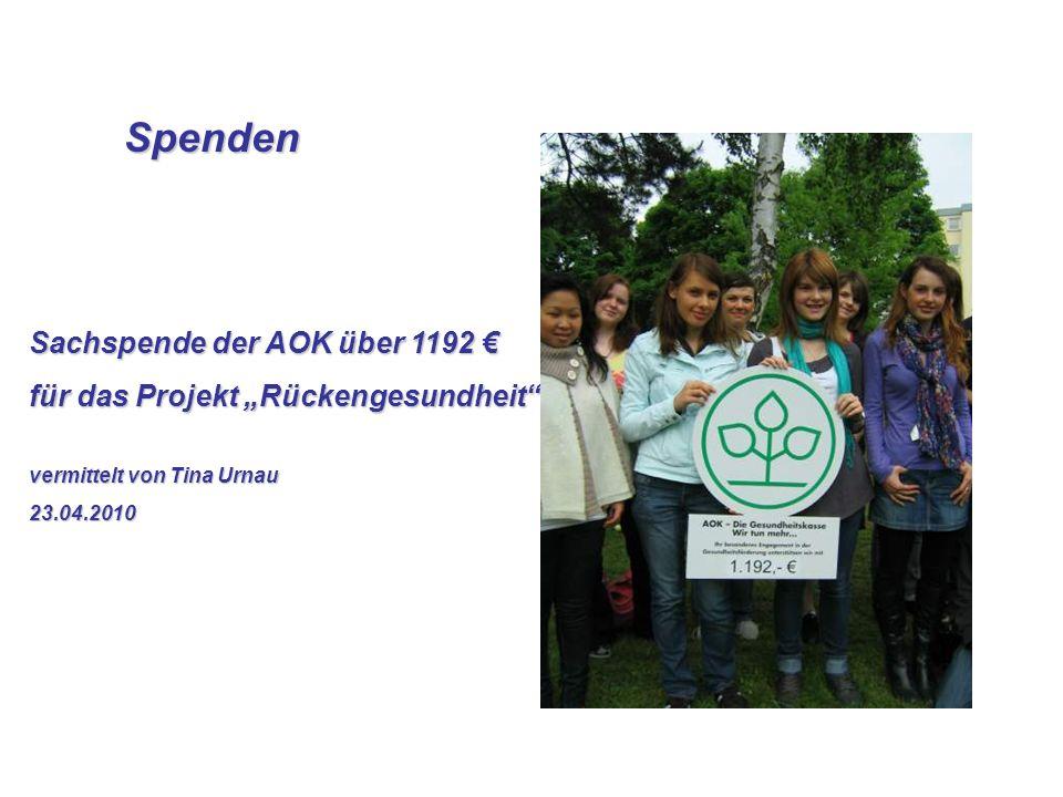 Spenden Spenden Sachspende der AOK über 1192 Sachspende der AOK über 1192 für das Projekt Rückengesundheit vermittelt von Tina Urnau 23.04.2010