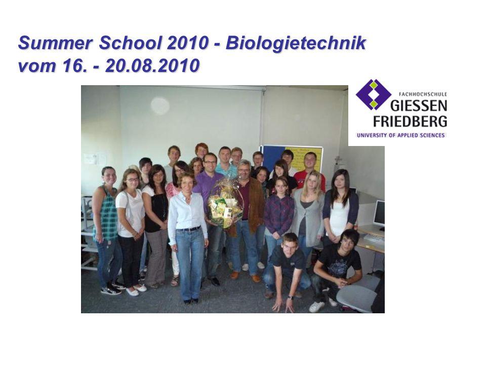 Summer School 2010 - Biologietechnik vom 16. - 20.08.2010