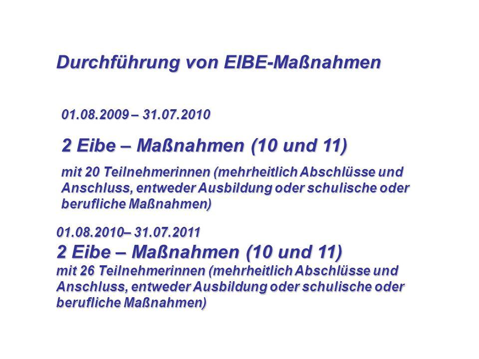 Durchführung von EIBE-Maßnahmen Durchführung von EIBE-Maßnahmen 01.08.2009 – 31.07.2010 2 Eibe – Maßnahmen (10 und 11) mit 20 Teilnehmerinnen (mehrhei