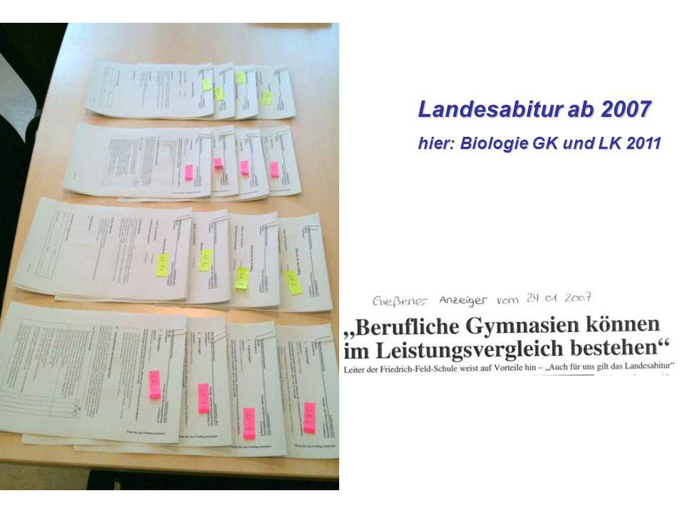 Landesabitur ab 2007 hier: Biologie GK und LK 2011