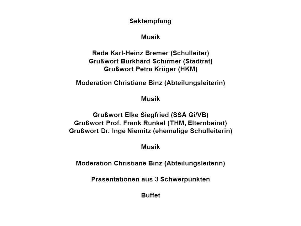 Sektempfang Musik Rede Karl-Heinz Bremer (Schulleiter) Grußwort Burkhard Schirmer (Stadtrat) Grußwort Petra Krüger (HKM) Moderation Christiane Binz (Abteilungsleiterin) Musik Grußwort Elke Siegfried (SSA Gi/VB) Grußwort Prof.