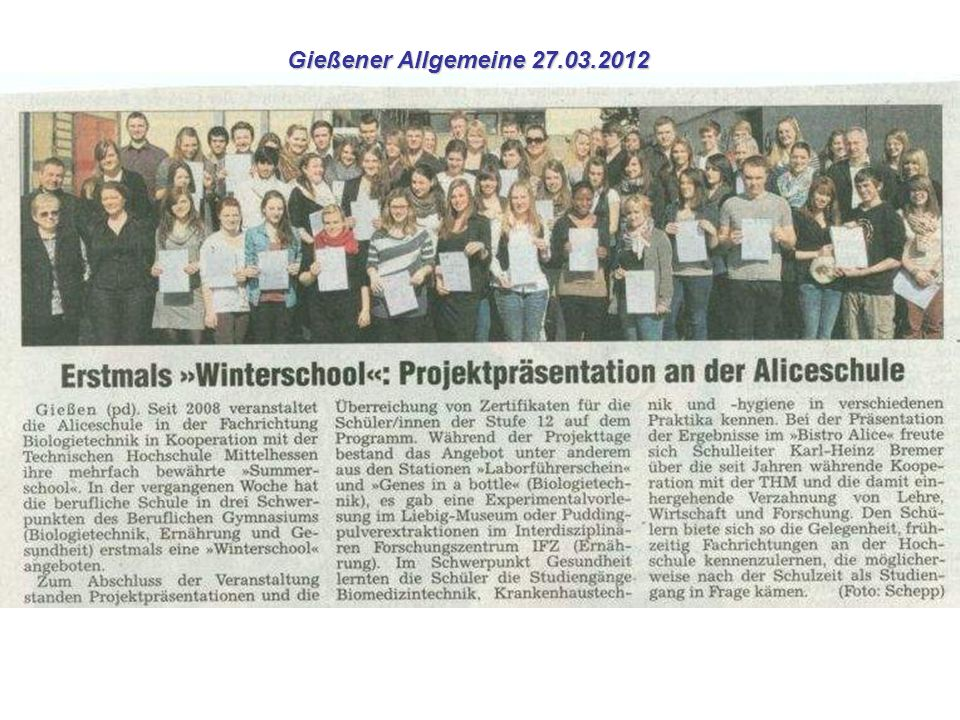 Gießener Allgemeine 27.03.2012