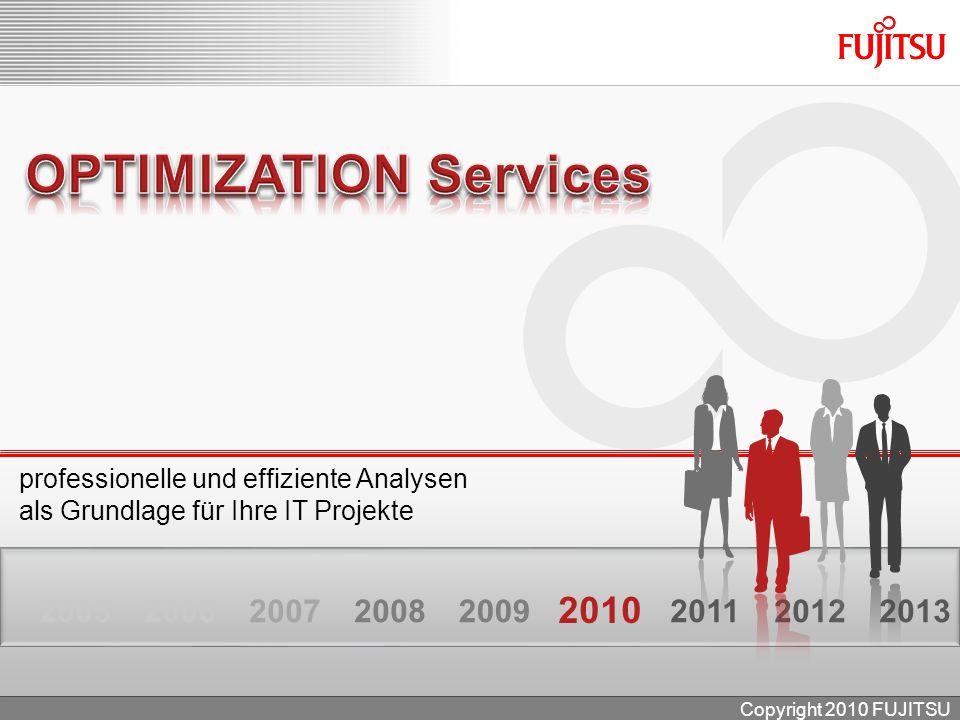 professionelle und effiziente Analysen als Grundlage für Ihre IT Projekte 201220132005200620072008 2010 20112009 Copyright 2010 FUJITSU