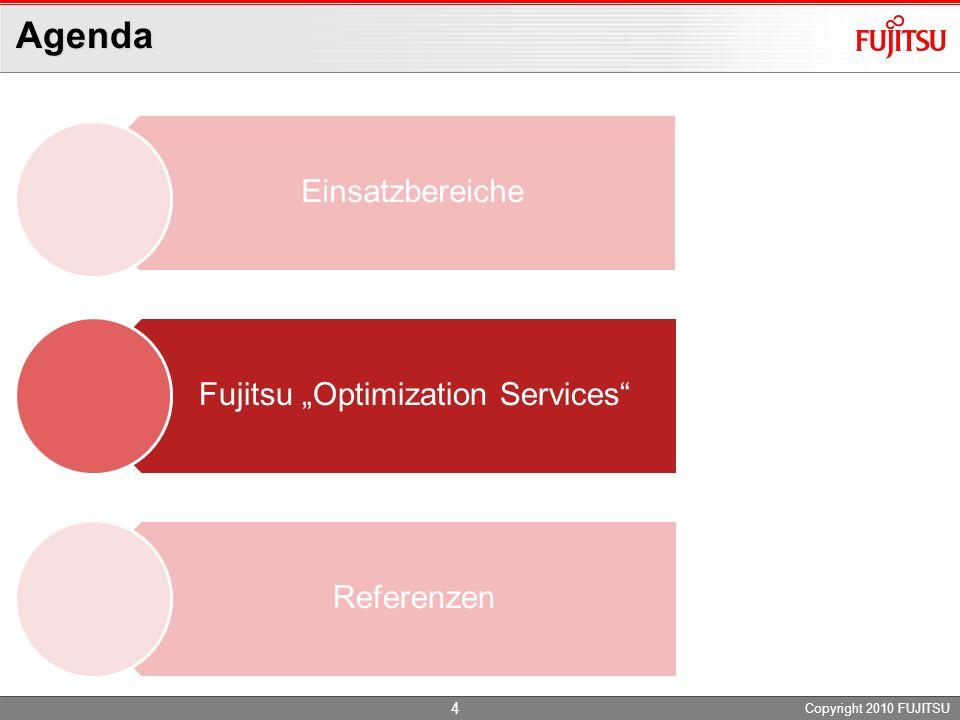 Agenda Copyright 2010 FUJITSU Einsatzbereiche Fujitsu Optimization Services Referenzen 4