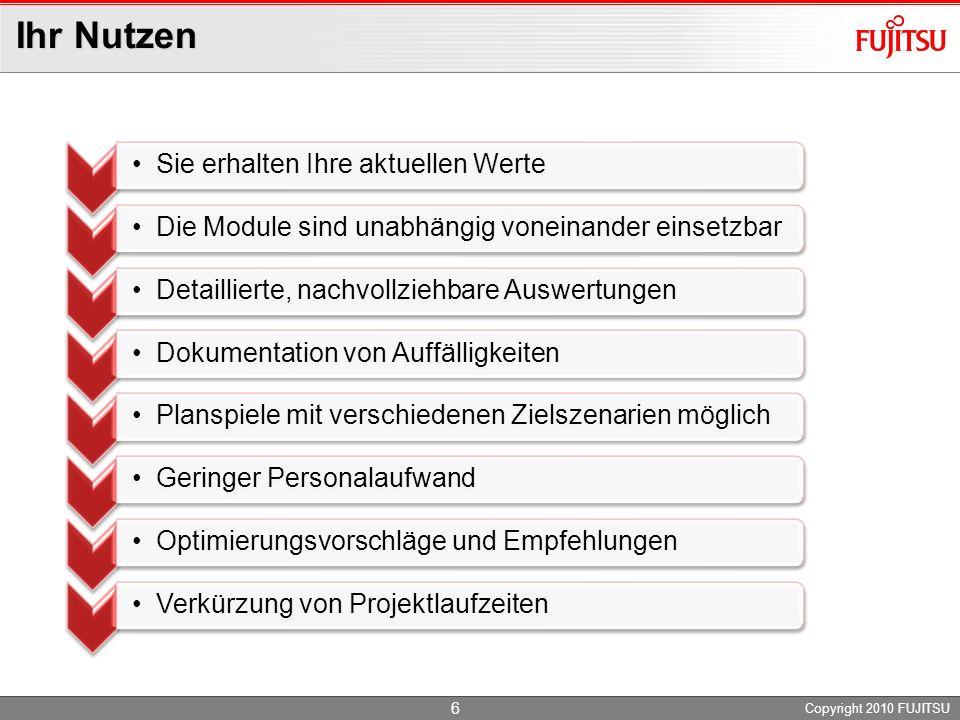 Ihr Nutzen Copyright 2010 FUJITSU 6 Sie erhalten Ihre aktuellen Werte Die Module sind unabhängig voneinander einsetzbar Detaillierte, nachvollziehbare