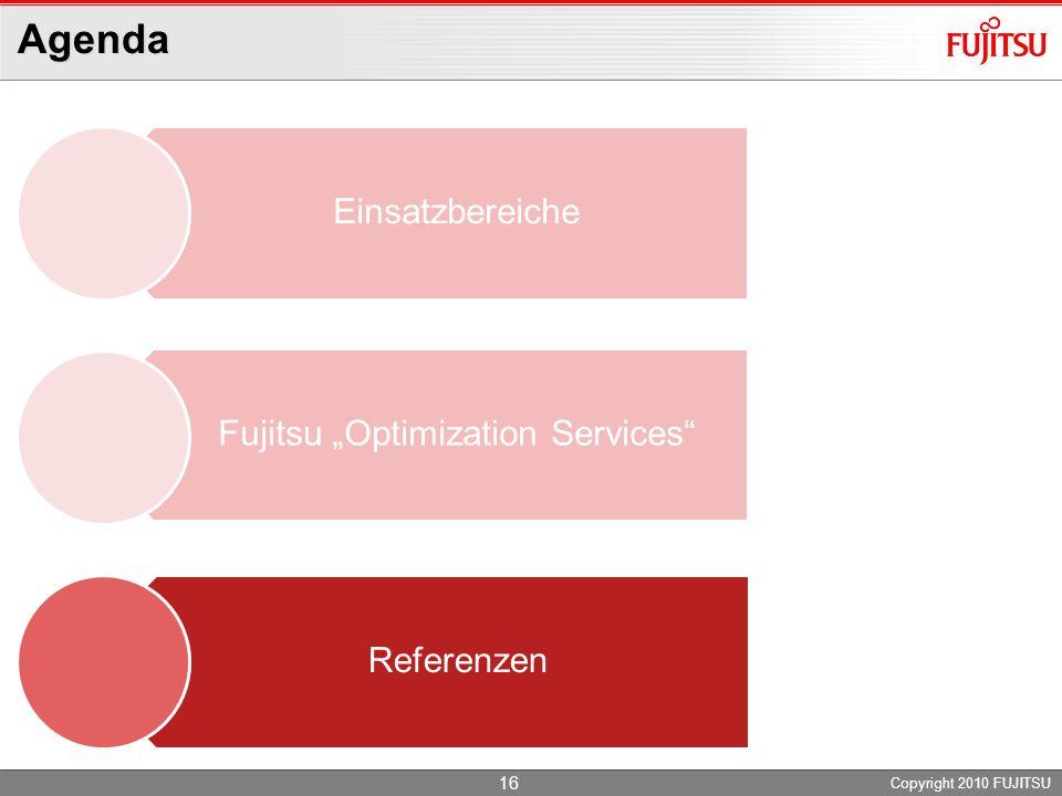 Agenda Copyright 2010 FUJITSU Einsatzbereiche Fujitsu Optimization Services Referenzen 16