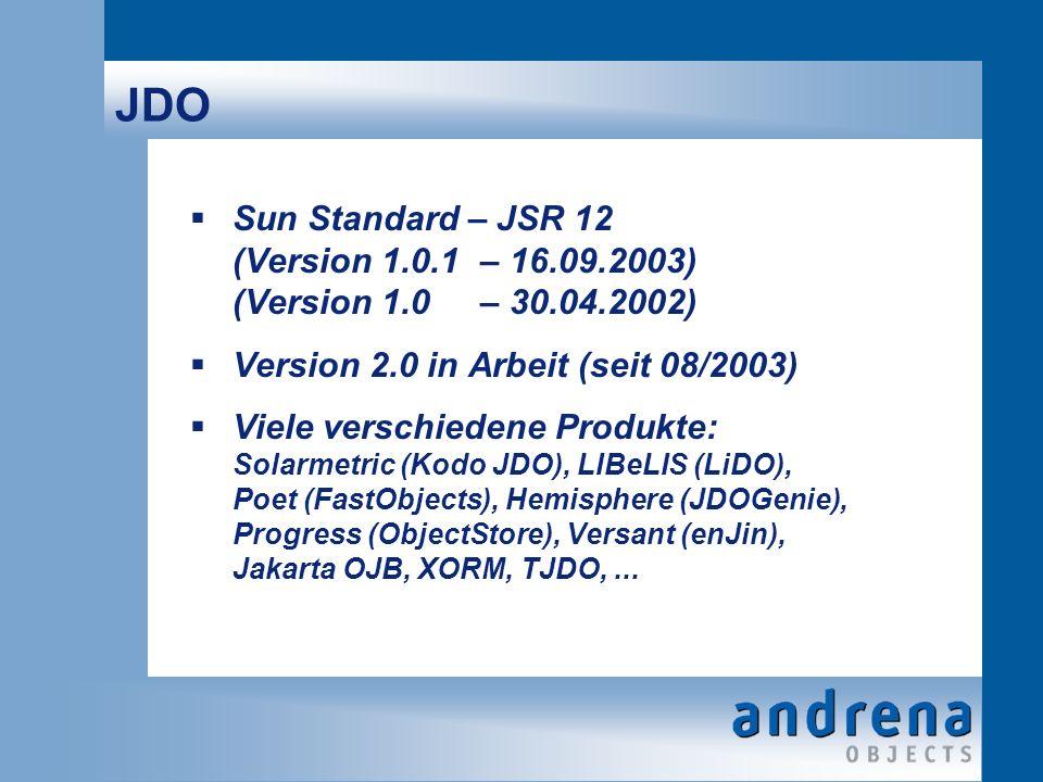 JDO Sun Standard – JSR 12 (Version 1.0.1– 16.09.2003) (Version 1.0– 30.04.2002) Version 2.0 in Arbeit (seit 08/2003) Viele verschiedene Produkte: Solarmetric (Kodo JDO), LIBeLIS (LiDO), Poet (FastObjects), Hemisphere (JDOGenie), Progress (ObjectStore), Versant (enJin), Jakarta OJB, XORM, TJDO,...