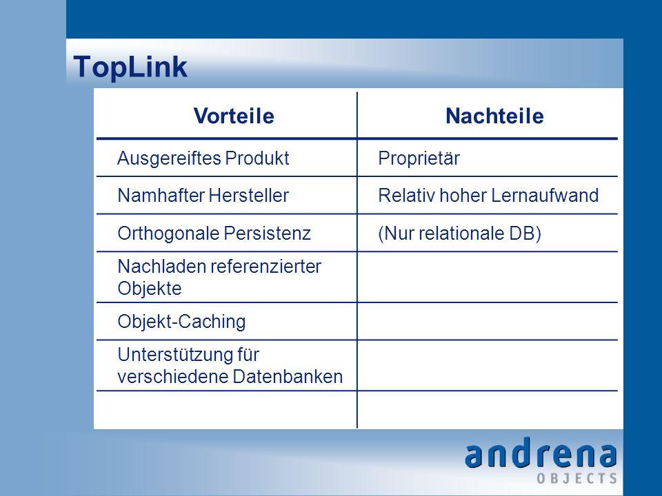 TopLink VorteileNachteile Ausgereiftes ProduktProprietär Namhafter HerstellerRelativ hoher Lernaufwand Orthogonale Persistenz(Nur relationale DB) Nachladen referenzierter Objekte Objekt-Caching Unterstützung für verschiedene Datenbanken