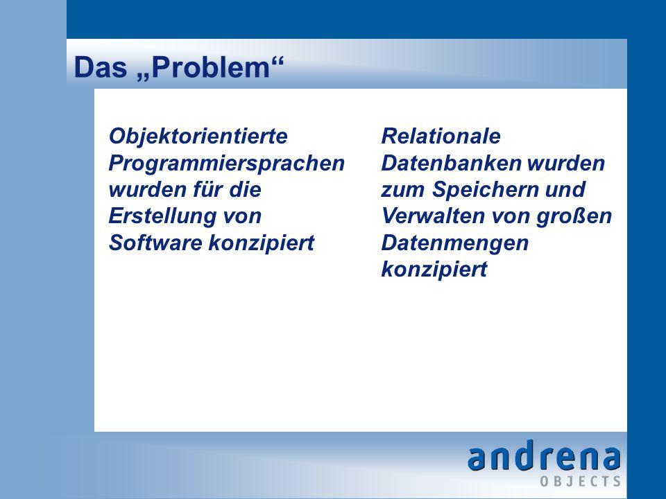 Das Problem Objektorientierte Programmiersprachen wurden für die Erstellung von Software konzipiert Relationale Datenbanken wurden zum Speichern und Verwalten von großen Datenmengen konzipiert