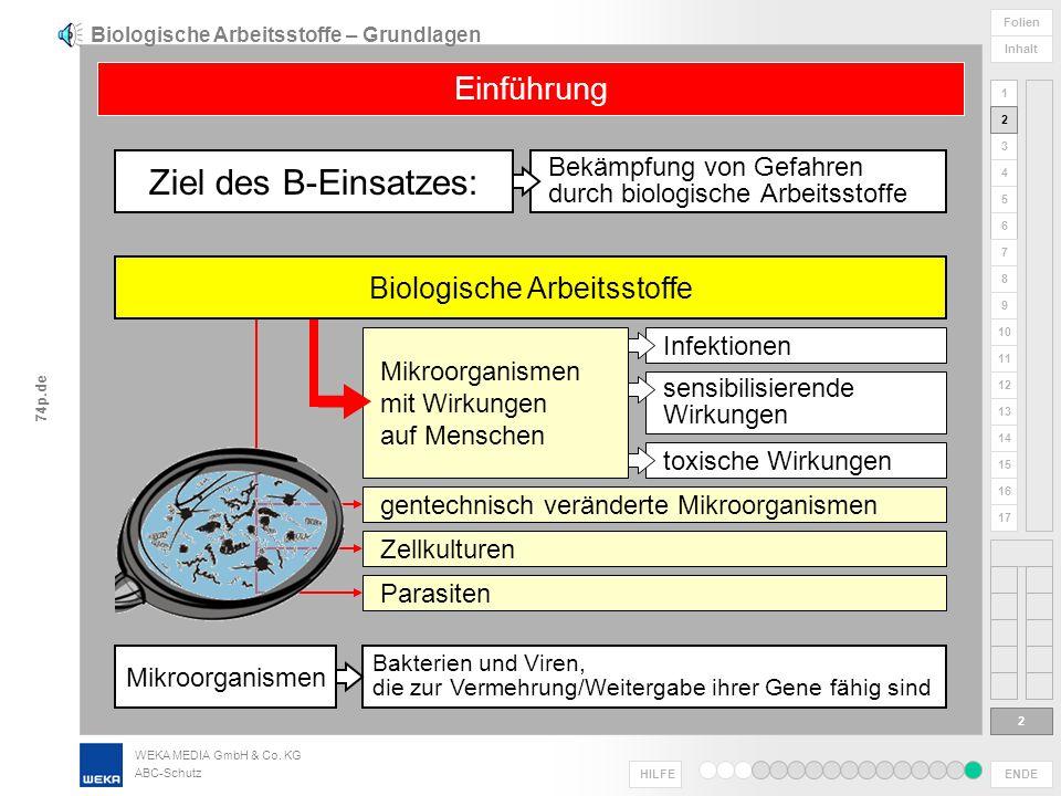 WEKA MEDIA GmbH & Co. KG ABC-Schutz ENDE HILFE 1 2 3 4 5 6 Folien Inhalt 74p.de 7 8 9 10 11 12 13 14 15 16 17 Foto: Dräger Biologische Arbeitsstoffe B