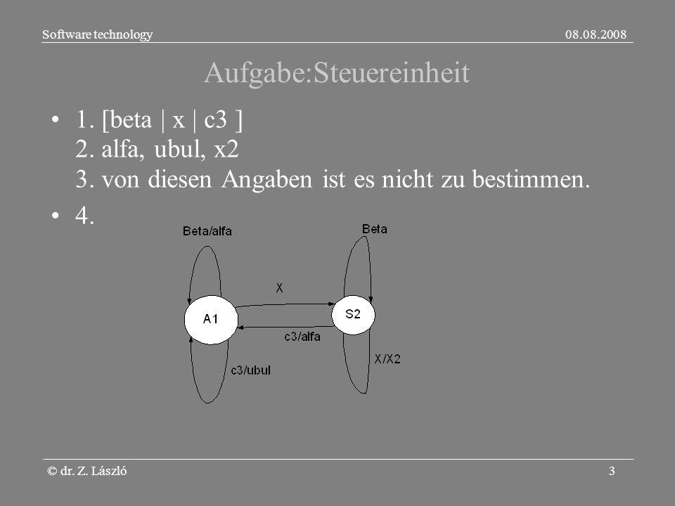 Software technology08.08.2008 © dr. Z. László3 Aufgabe:Steuereinheit 1.