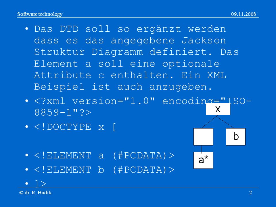 Software technology09.11.2008 © dr. R. Hadik3 <!DOCTYPE x [ ]> kuka vidor