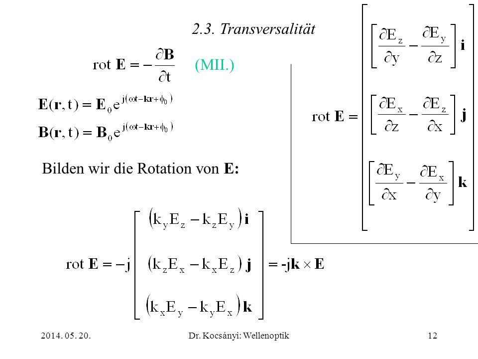 2014. 05. 20.Dr. Kocsányi: Wellenoptik12 2.3. Transversalität Bilden wir die Rotation von E: (MII.)