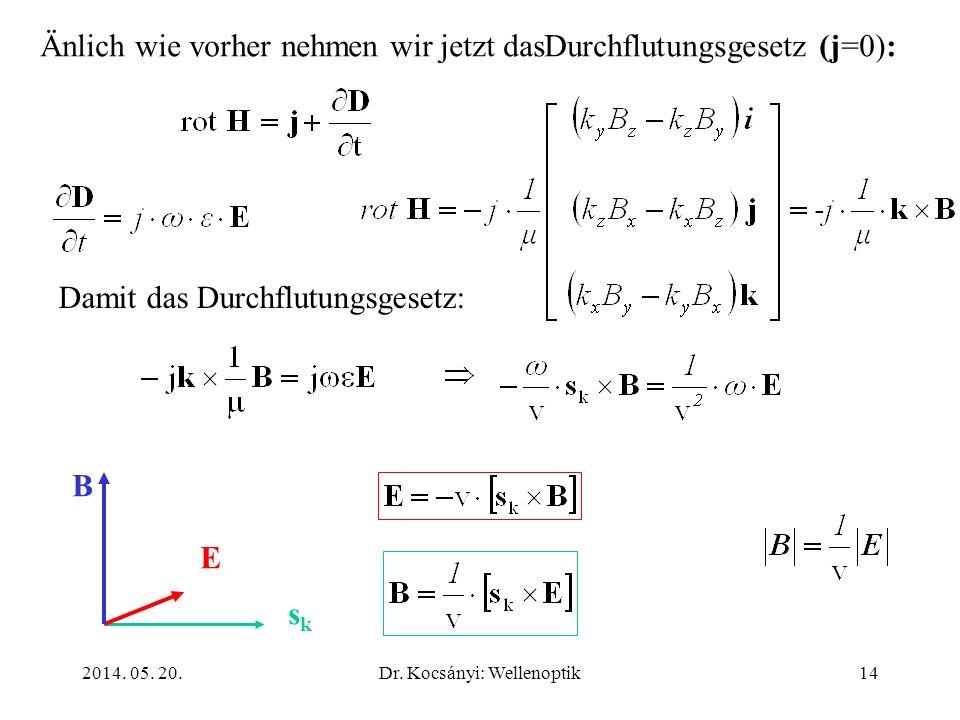 2014. 05. 20.Dr. Kocsányi: Wellenoptik14 Änlich wie vorher nehmen wir jetzt dasDurchflutungsgesetz (j=0): Damit das Durchflutungsgesetz: sksk E B
