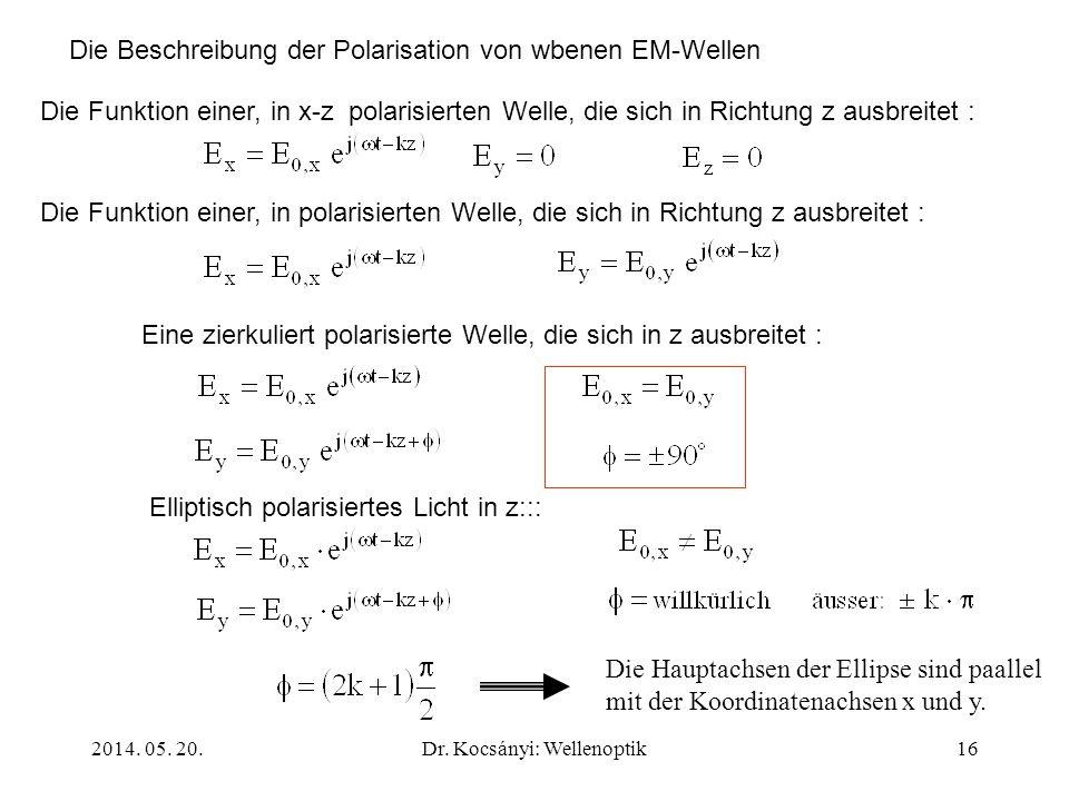 2014. 05. 20.Dr. Kocsányi: Wellenoptik16 Die Beschreibung der Polarisation von wbenen EM-Wellen Die Funktion einer, in x-z polarisierten Welle, die si