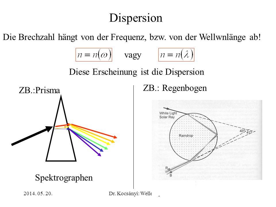 2014. 05. 20.Dr. Kocsányi: Wellenoptik17 Dispersion Die Brechzahl hängt von der Frequenz, bzw. von der Wellwnlänge ab! Diese Erscheinung ist die Dispe