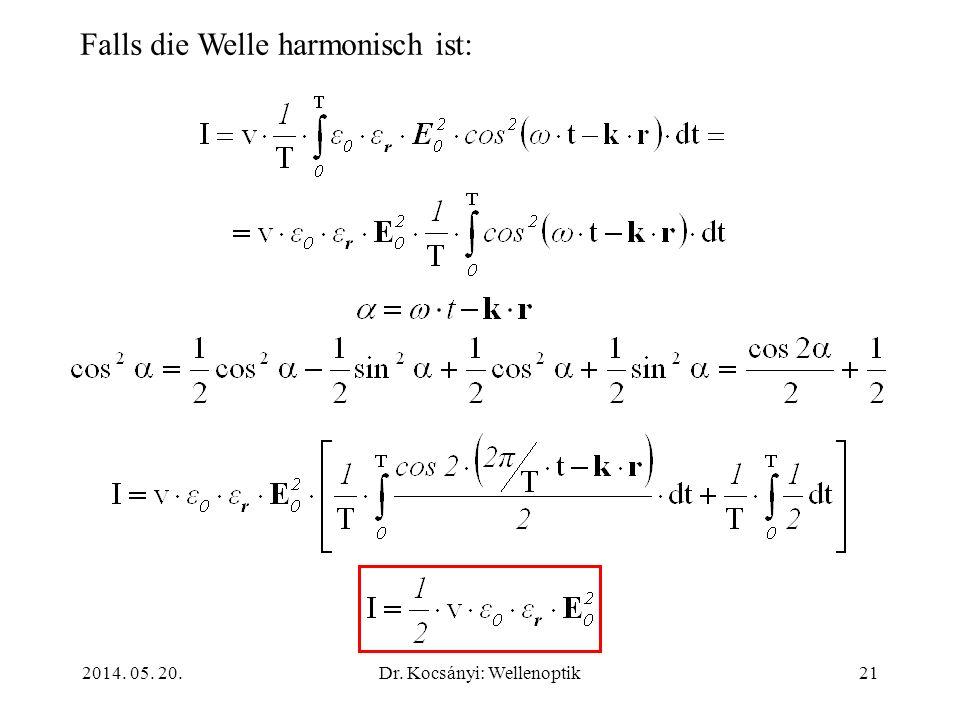 2014. 05. 20.Dr. Kocsányi: Wellenoptik21 Falls die Welle harmonisch ist: