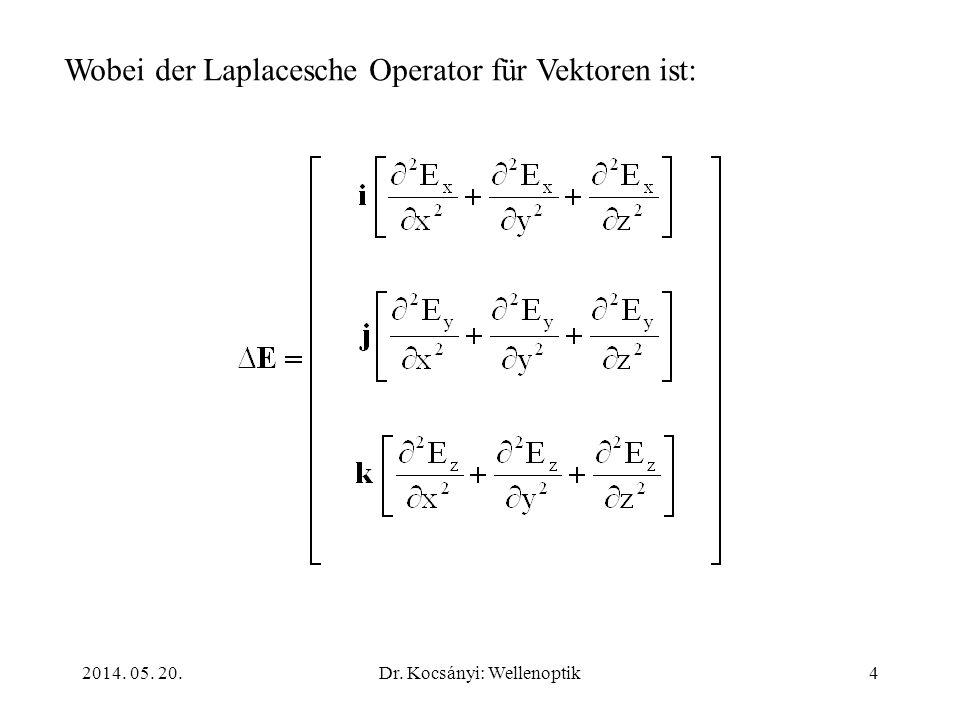 2014. 05. 20.Dr. Kocsányi: Wellenoptik4 Wobei der Laplacesche Operator für Vektoren ist: