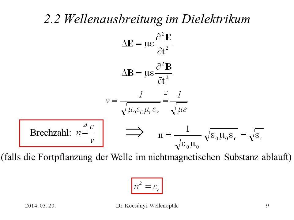 2014. 05. 20.Dr. Kocsányi: Wellenoptik9 2.2 Wellenausbreitung im Dielektrikum Brechzahl: (falls die Fortpflanzung der Welle im nichtmagnetischen Subst