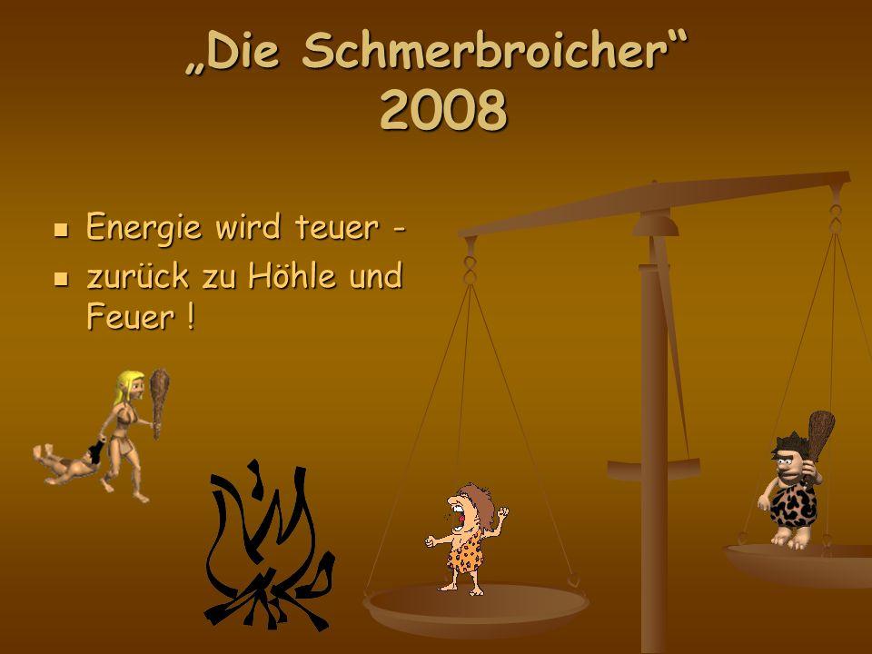 Die Schmerbroicher 2008 Energie wird teuer - Energie wird teuer - zurück zu Höhle und Feuer .