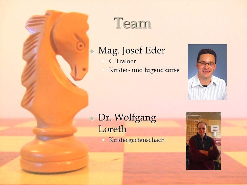 Team Mag. Josef Eder Mag. Josef Eder C-TrainerC-Trainer Kinder- und JugendkurseKinder- und Jugendkurse Dr. Wolfgang Loreth Dr. Wolfgang Loreth Kinderg