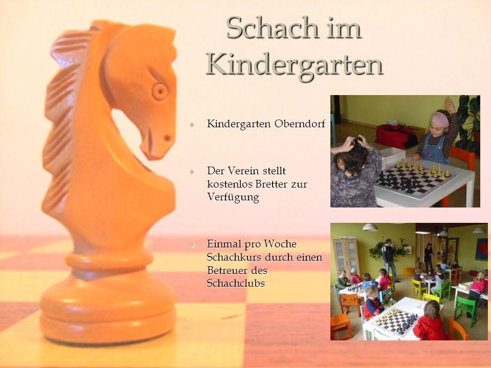 Schach im Kindergarten Kindergarten Oberndorf Kindergarten Oberndorf Der Verein stellt kostenlos Bretter zur Verfügung Der Verein stellt kostenlos Bretter zur Verfügung Einmal pro Woche Schachkurs durch einen Betreuer des Schachclubs Einmal pro Woche Schachkurs durch einen Betreuer des Schachclubs