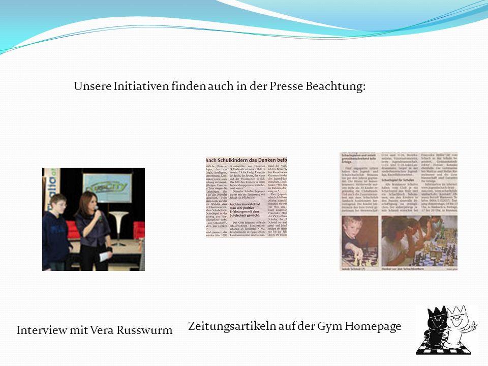 Unsere Initiativen finden auch in der Presse Beachtung: Interview mit Vera Russwurm Zeitungsartikeln auf der Gym Homepage