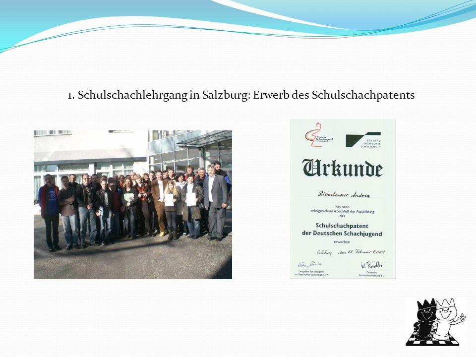 1. Schulschachlehrgang in Salzburg: Erwerb des Schulschachpatents