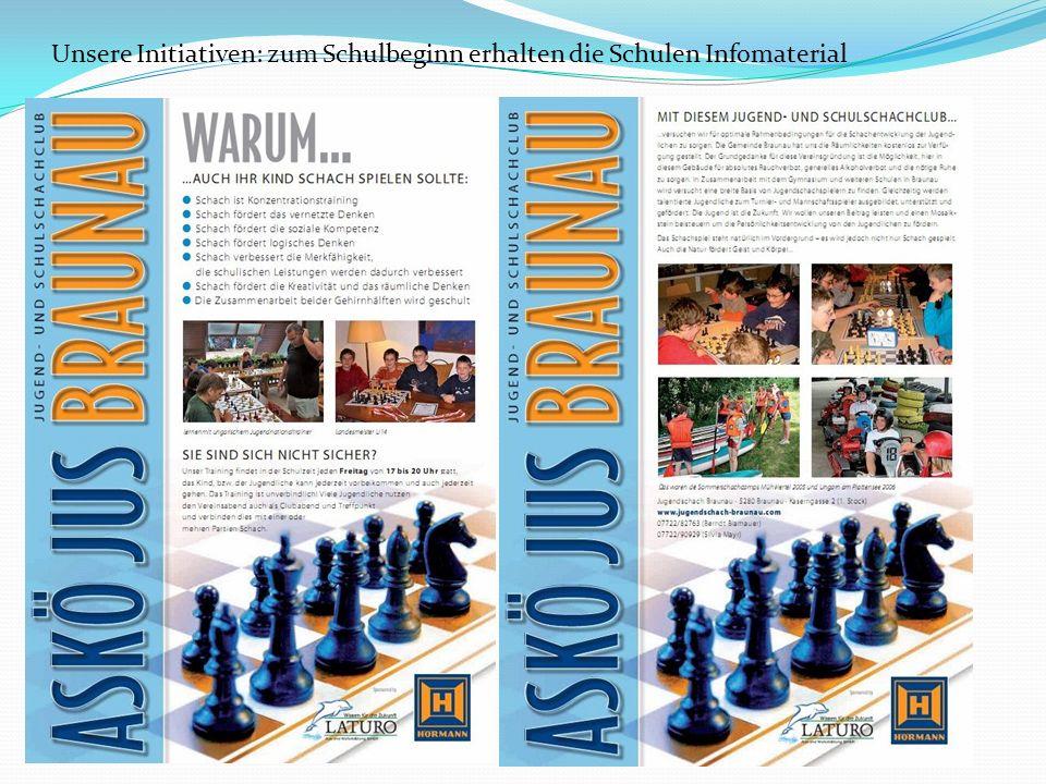 Unsere Initiativen: zum Schulbeginn erhalten die Schulen Infomaterial