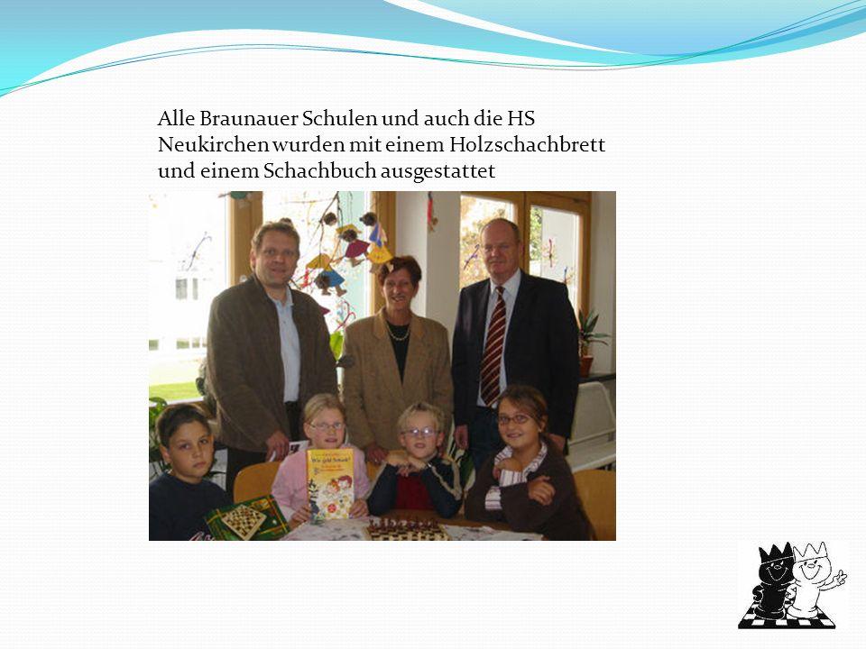 Folgende Schulen haben durch unsere Initiative bereits an der Schulschach- Bezirksmeisterschaft und –landesmeisterschaft teilgenommen: VS 1 Braunau VS Neustadt HS 1 Braunau Gymnasium Braunau HAK Braunau HTL Braunau HLW Braunau VS/OS Bogenhofen