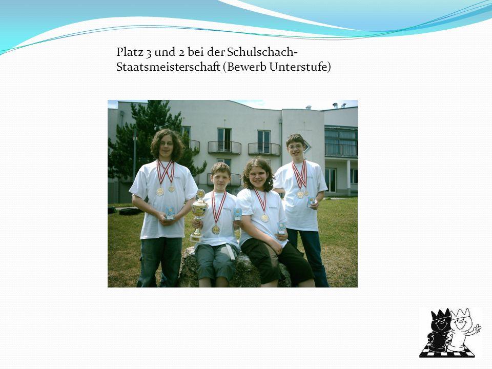 Platz 3 und 2 bei der Schulschach- Staatsmeisterschaft (Bewerb Unterstufe)