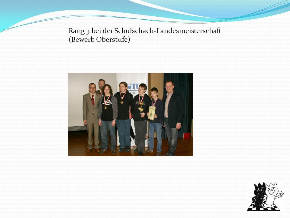 Rang 3 bei der Schulschach-Landesmeisterschaft (Bewerb Oberstufe)