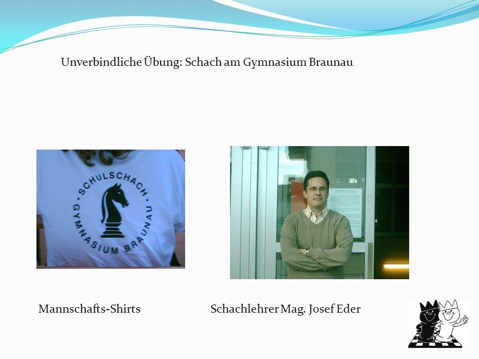 Unverbindliche Übung: Schach am Gymnasium Braunau Mannschafts-ShirtsSchachlehrer Mag. Josef Eder