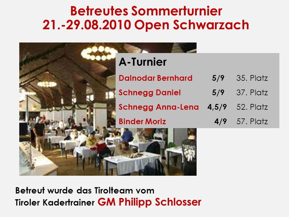 Betreutes Sommerturnier 21.-29.08.2010 Open Schwarzach Betreut wurde das Tirolteam vom Tiroler Kadertrainer GM Philipp Schlosser A-Turnier Dalnodar Be