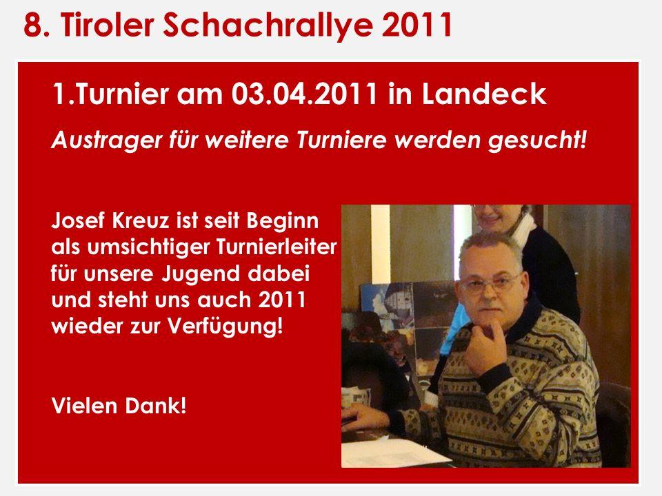8. Tiroler Schachrallye 2011 1.Turnier am 03.04.2011 in Landeck Austrager für weitere Turniere werden gesucht! Josef Kreuz ist seit Beginn als umsicht