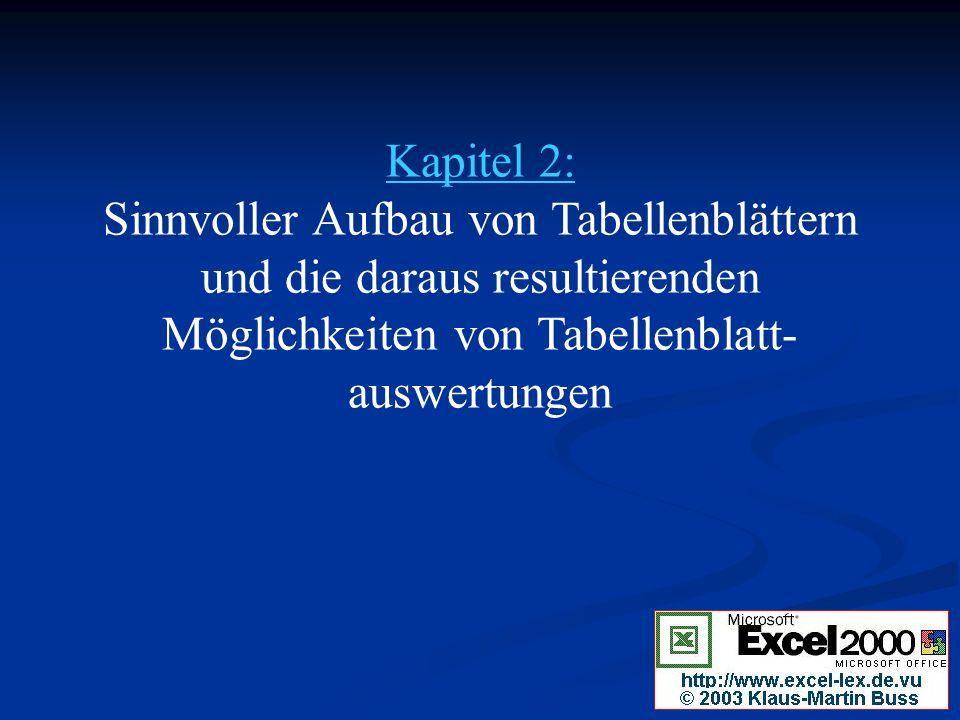 Kapitel 2: Sinnvoller Aufbau von Tabellenblättern und die daraus resultierenden Möglichkeiten von Tabellenblatt- auswertungen