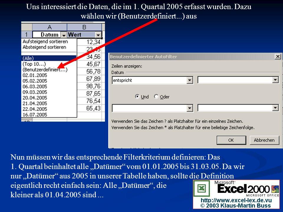 Uns interessiert die Daten, die im 1.Quartal 2005 erfasst wurden.