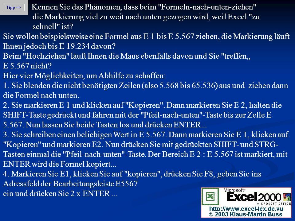 Kennen Sie das Phänomen, dass beim Formeln-nach-unten-ziehen die Markierung viel zu weit nach unten gezogen wird, weil Excel zu schnell ist.