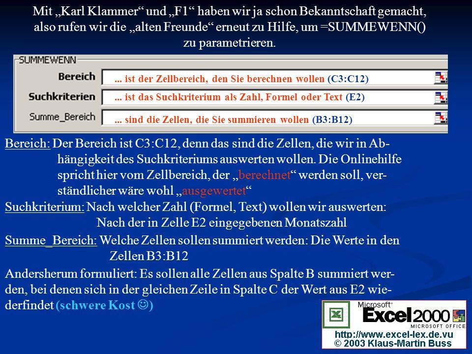 Mit Karl Klammer und F1 haben wir ja schon Bekanntschaft gemacht, also rufen wir die alten Freunde erneut zu Hilfe, um =SUMMEWENN() zu parametrieren....