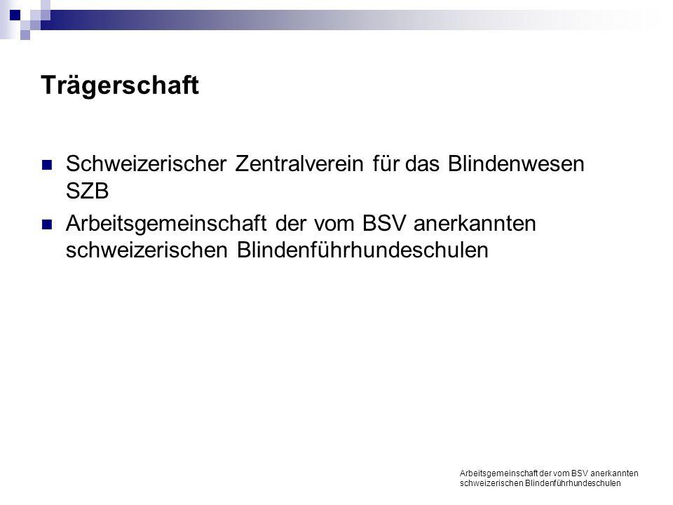 Trägerschaft Schweizerischer Zentralverein für das Blindenwesen SZB Arbeitsgemeinschaft der vom BSV anerkannten schweizerischen Blindenführhundeschulen