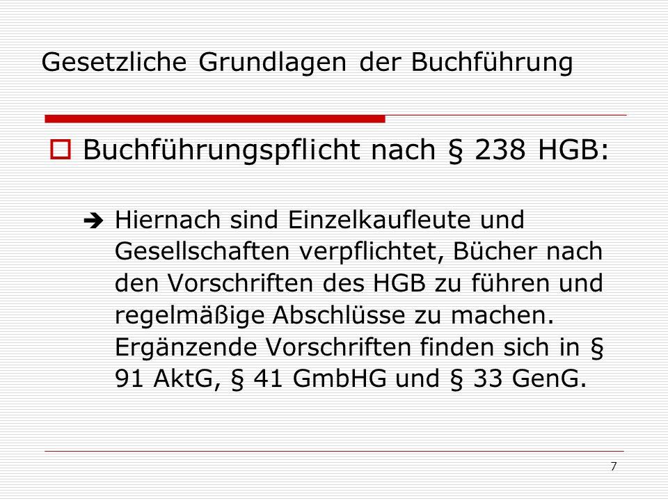 8 Gesetzliche Grundlagen der Buchführung Grundsätze ordnungsmäßiger Buchführung: Nach den §§ 238 I HGB und 140f.