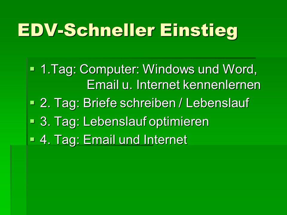 EDV-Schneller Einstieg 1.Tag: Computer: Windows und Word, Email u. Internet kennenlernen 1.Tag: Computer: Windows und Word, Email u. Internet kennenle