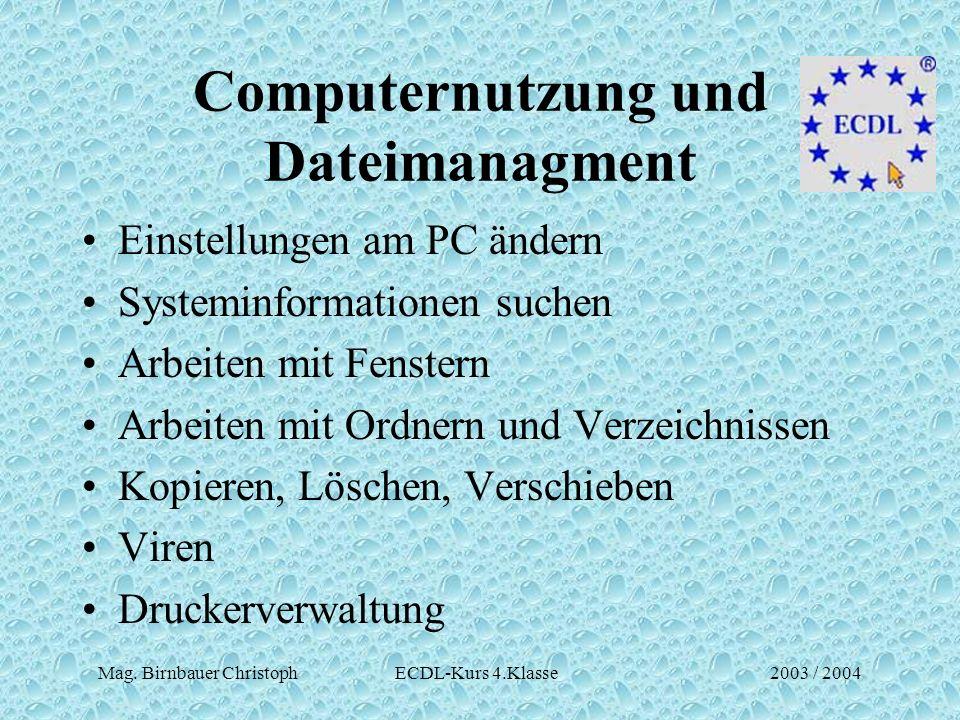 Mag. Birnbauer Christoph ECDL-Kurs 4.Klasse2003 / 2004 Computernutzung und Dateimanagment Einstellungen am PC ändern Systeminformationen suchen Arbeit