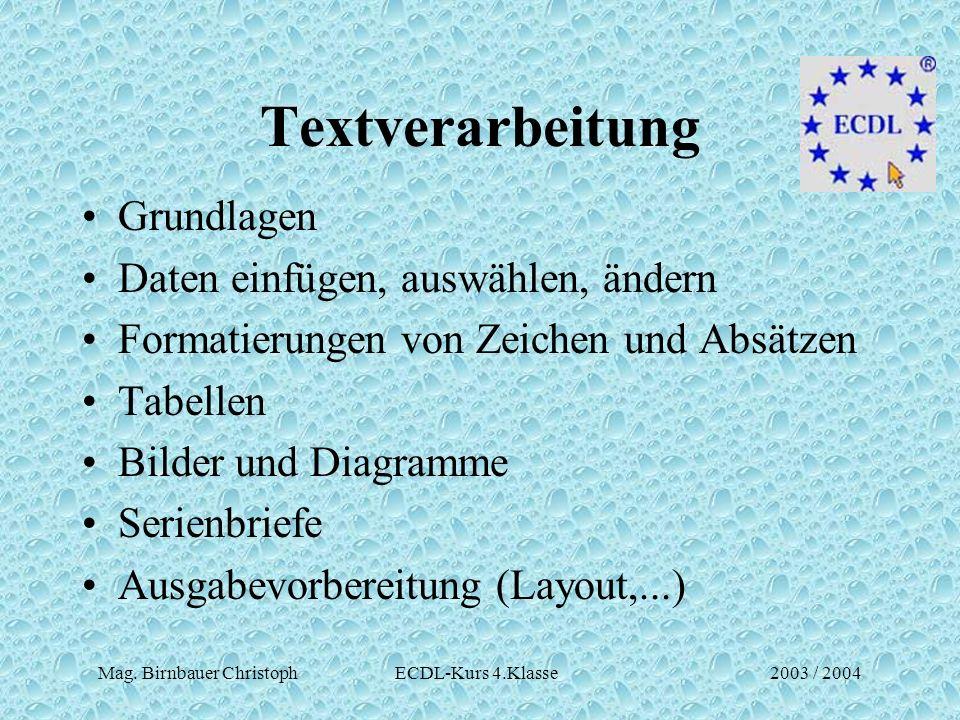 Mag. Birnbauer Christoph ECDL-Kurs 4.Klasse2003 / 2004 Textverarbeitung Grundlagen Daten einfügen, auswählen, ändern Formatierungen von Zeichen und Ab