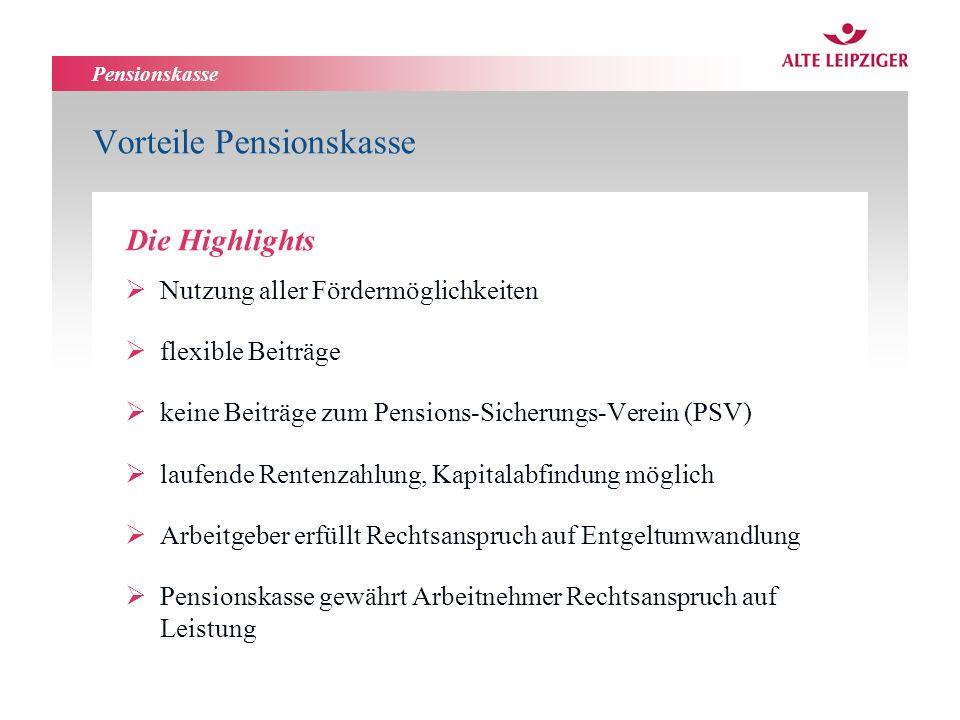 Pensionskasse Nutzung aller Fördermöglichkeiten flexible Beiträge keine Beiträge zum Pensions-Sicherungs-Verein (PSV) laufende Rentenzahlung, Kapitala