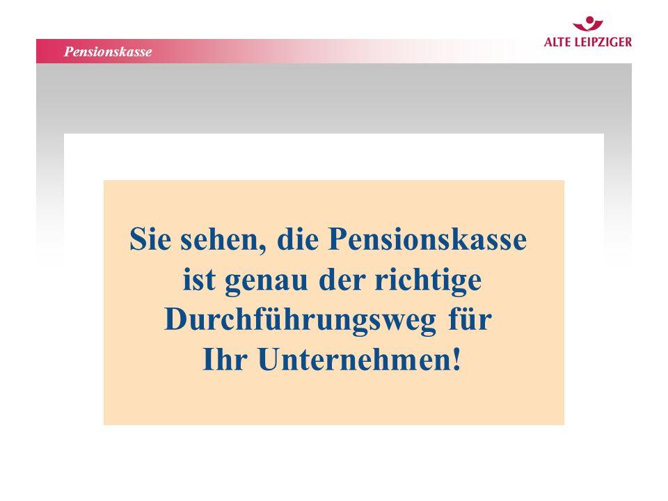 Funktionsbereiche AL-Leben Sie sehen, die Pensionskasse ist genau der richtige Durchführungsweg für Ihr Unternehmen! Pensionskasse